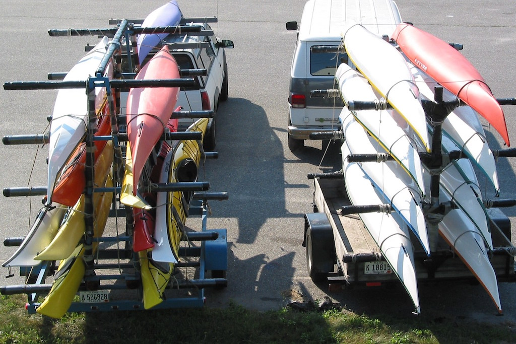 KAYAKS ON TRAILERS READY FOR THE ROAD