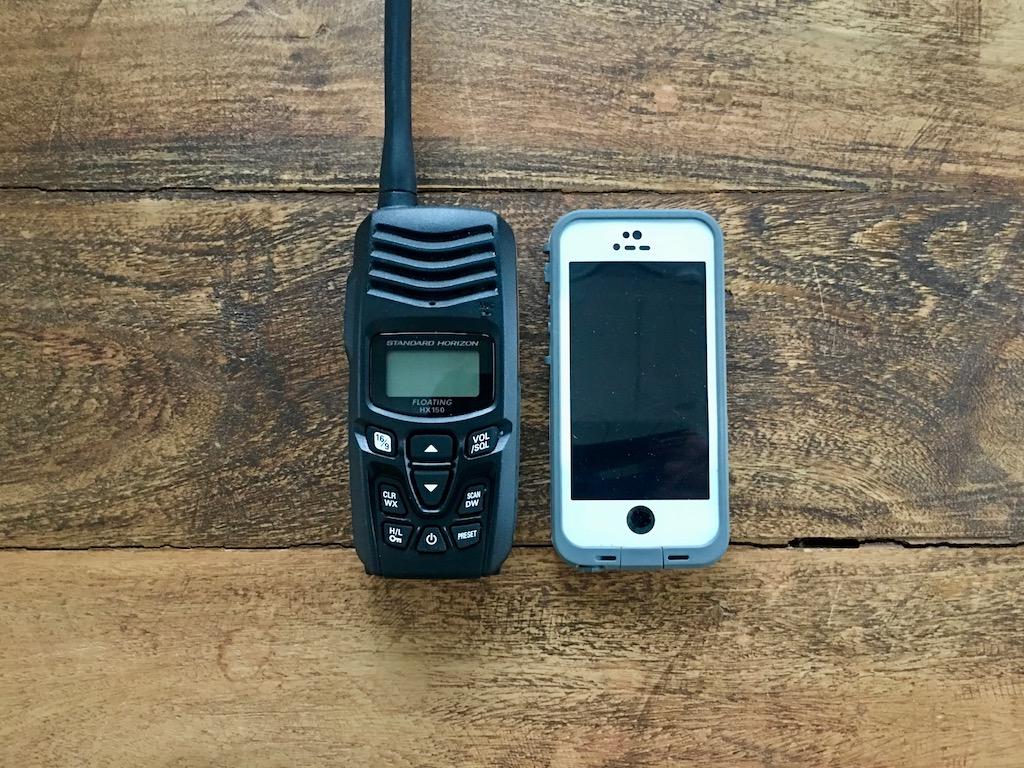marine VHF radio and cell phone