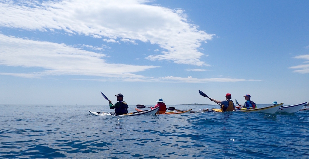 Group paddling out from Whitehead
