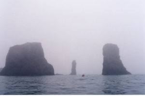 kayaker in Antarctic fog