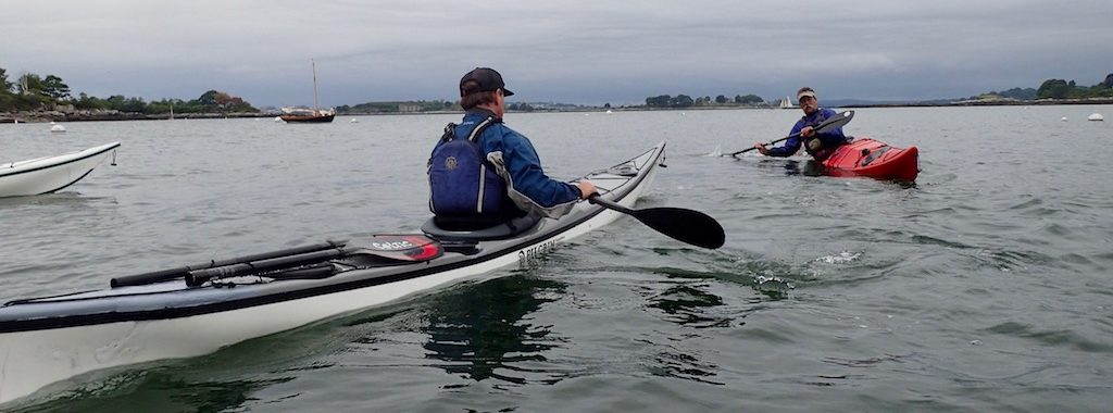 kayaker learning sculling for support