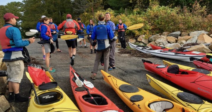 Guided sea kayaking trip at launch
