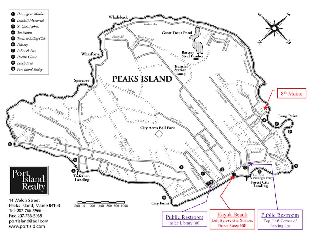 Map of Peaks Island, Maine