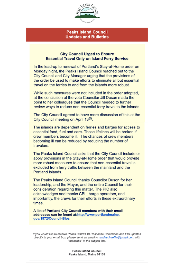 Letter from Peaks Island Council