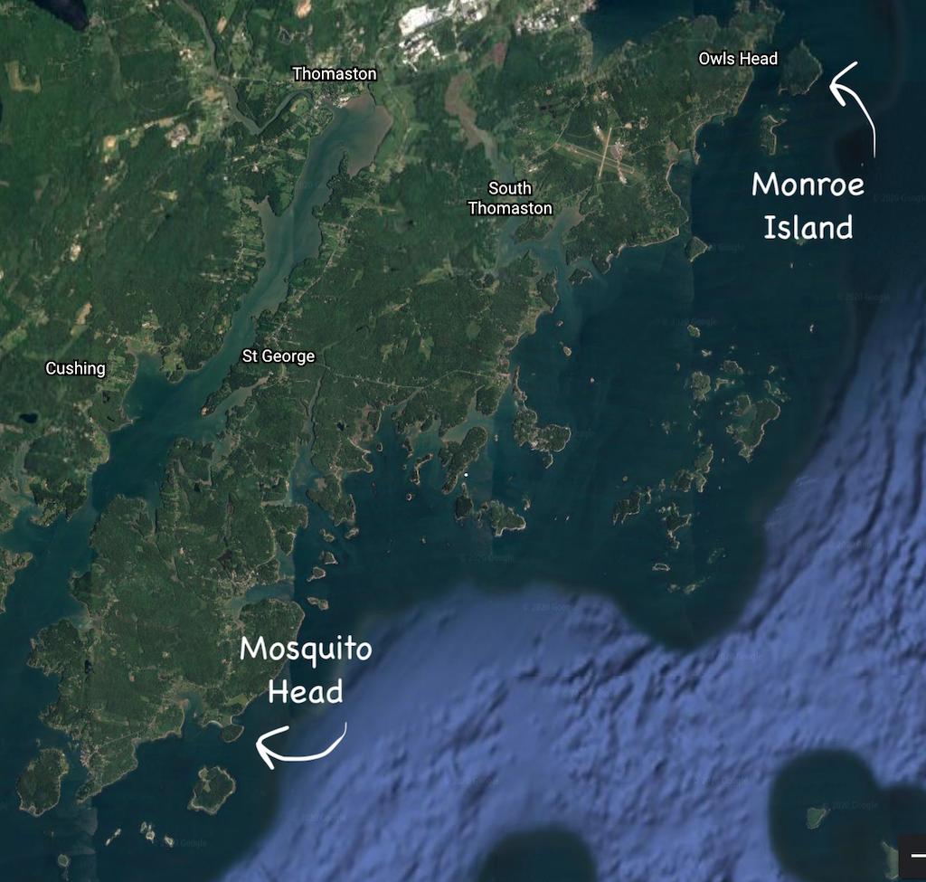 Google Earth image From Mosquito Head to Monroe Island, Maine