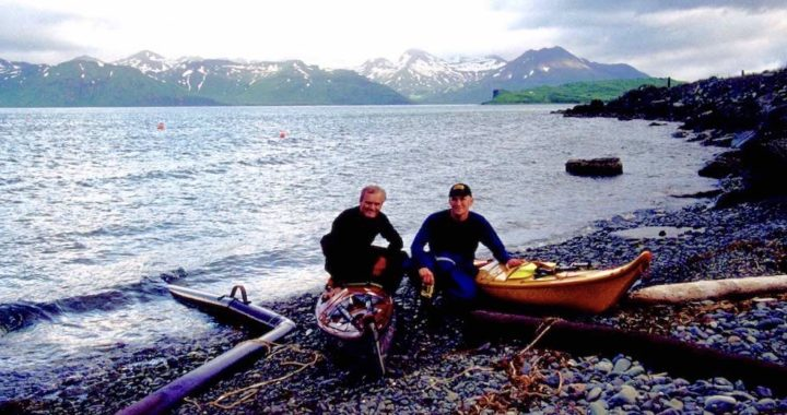 Team of sea kayakers on Aleutian Islands expedition